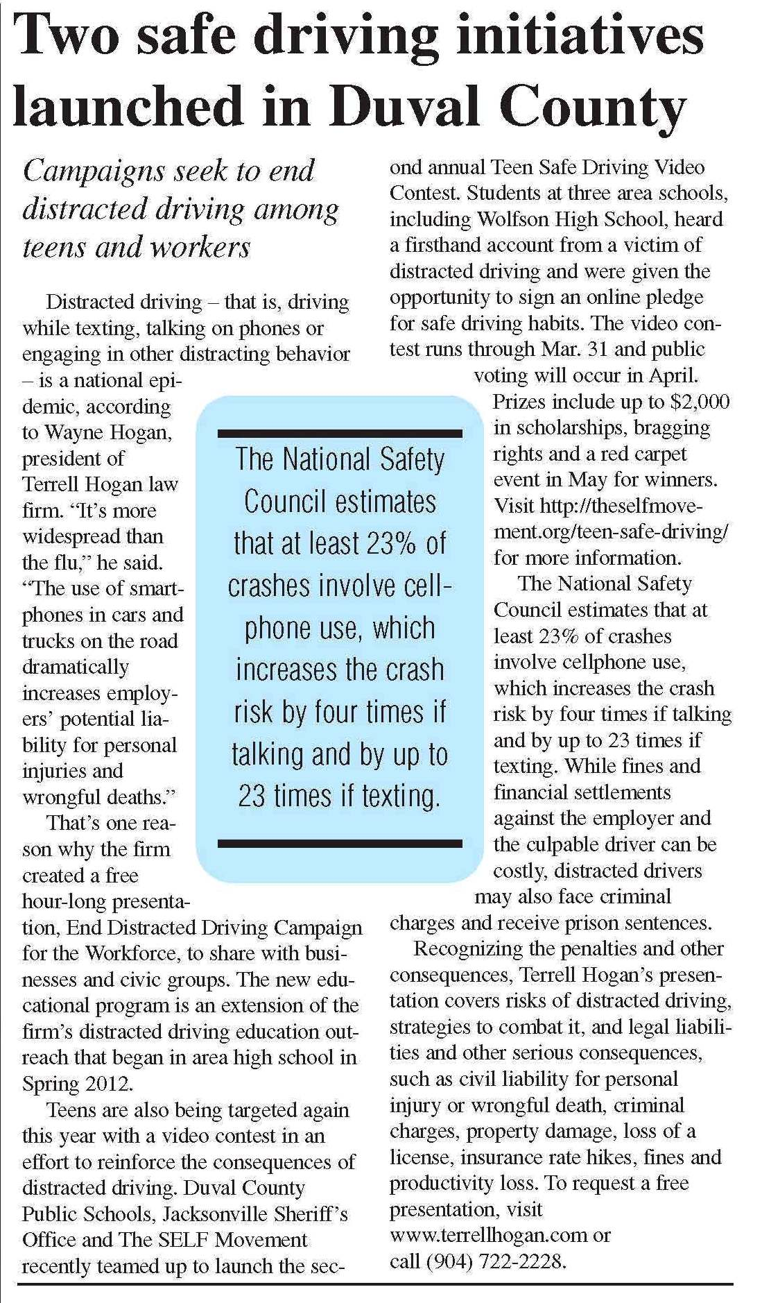 newspaper write-up with regards to safe driving