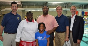 L-R: Timothy Feagins, Principal Woodland Acres Elementary; Charity Stephens; Jabriea Baker; Mayor Alvin Brown; Wayne Hogan, Bill Bishop, City Council District 2. Photographer Tonya Austin, COJ